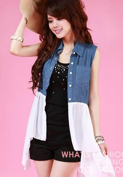 New Fashionable Ladys Chiffon+Jeans Tops