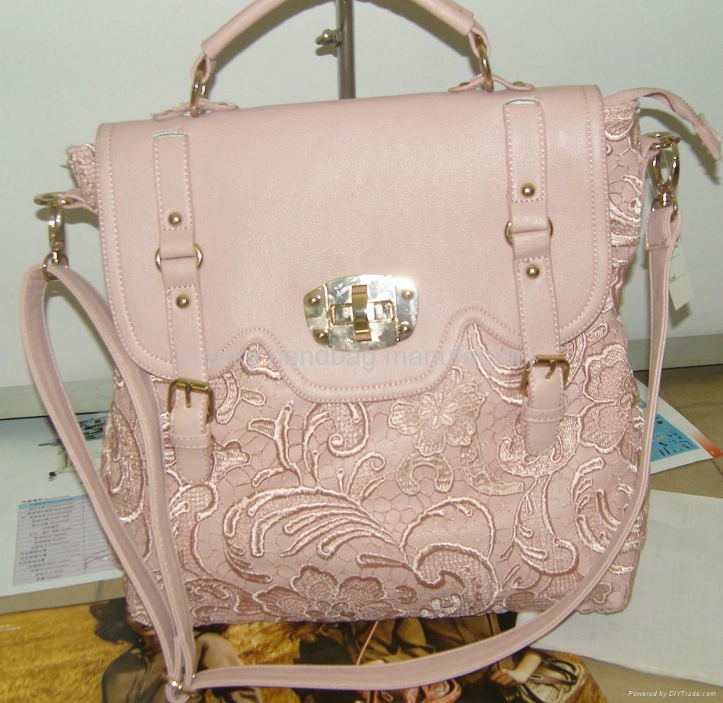 Latest Design Stylish Women Lace Handbag Pu Leather Bag 4