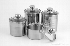Stainless steel food canister with glass lid set SS Food pots for Ice Cream pot