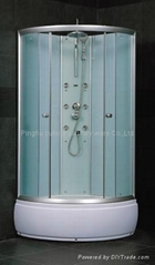 white no roof shower cabin