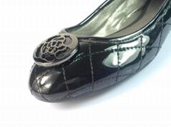 漆皮菱形格子鞋