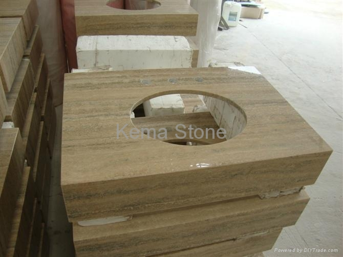 Marble Travertine Vanity Top And Sink Tv001 Kema Stone China