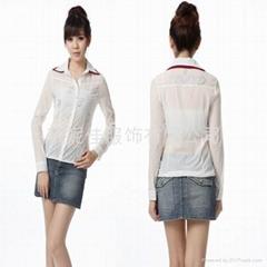 Korea Fashion Wholesale double-layer Collar Shirt White Chiffon shirt