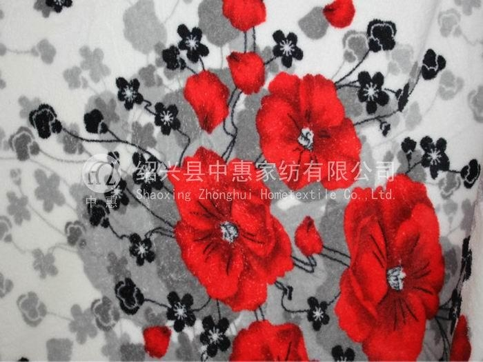 printed both side brushed coral fleece fabric 1