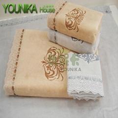100% cotton velvet embroidered towel sets