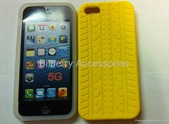 For Apple IPhone 5 5G Tyre stripe cover silicone soft back case