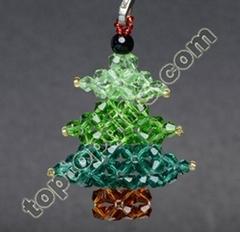 handmade beaded crystal Christmas tree charms mobile phone decoration