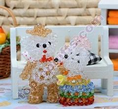 sweet 3D beaded Teddy lover bears mobile phone charm ornament
