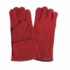 "16"" Red Cowhide Split Leather Welding Gloves"