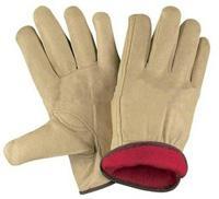 "10""Full Fleece Lining Grain Cowhide Leather Winter Gloves"