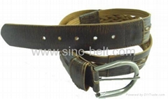 Man's knitting element body mixed fashion leather belt