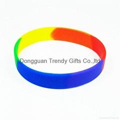 Trendy Silicone Rainbow color twist silicone bracelet