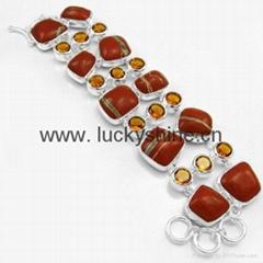 indian fashion gemstone jewelry red jasper  Charm bracelet