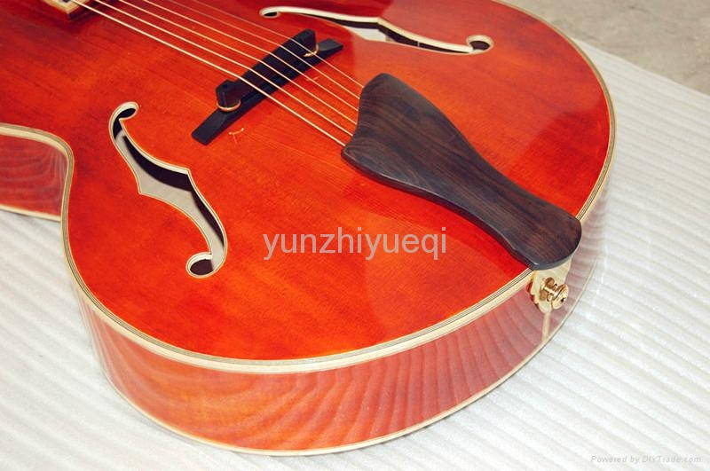 Wholesale fully handmade jazz guitar with solid 4