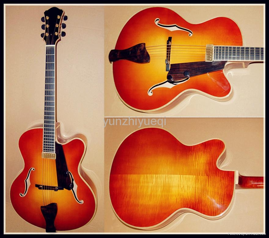 Fully handmade jazz guitar with solid wood 1