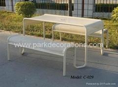 鐵制套椅 戶外長形餐桌椅 廣場休閑套椅
