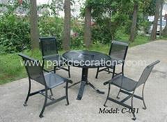 香港钢铁家具 庭院休闲套椅 钢铁一桌四椅套椅