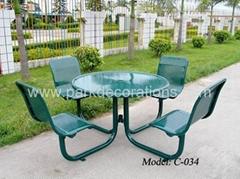 铁板冲孔套椅 庭院休闲套椅 花园桌椅