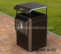 new style metal dustbin with wood timber