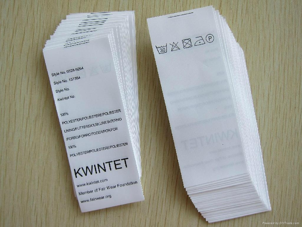 Printed Garment Care Label (Roll or Sheet) 1