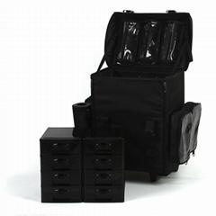 優質軟包尼龍專業二合一拉杆化妝箱