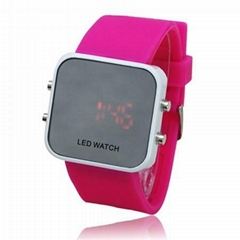 China fashion Digital Band Silicone LED Wrist Watch With Red LED