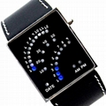 Fashiona Car Panel designed LED Wrist Watch With PU Leather Strap Band