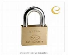 short shackle square type brass padlock