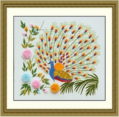 孔雀開屏絲帶繡