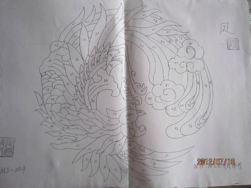 布艺贴画 凤 2