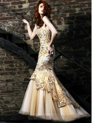 Vintage Floor-length Organza Gold Prom Dresses free shipping