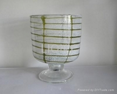 white with green line hand blown colourful glass hurricane