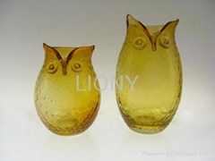 amber rustic hand made blown owl glass vase