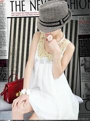 2012夏装新款白色小金领娃娃款无袖雪纺连衣裙