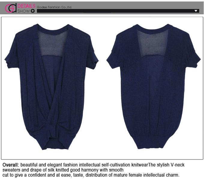 Ladies' Summer New Fashion Deep V Neck Batwing Sleeve Crossover Knitted Tops  4
