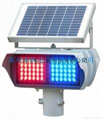 太陽能兩面兩組紅藍爆閃燈