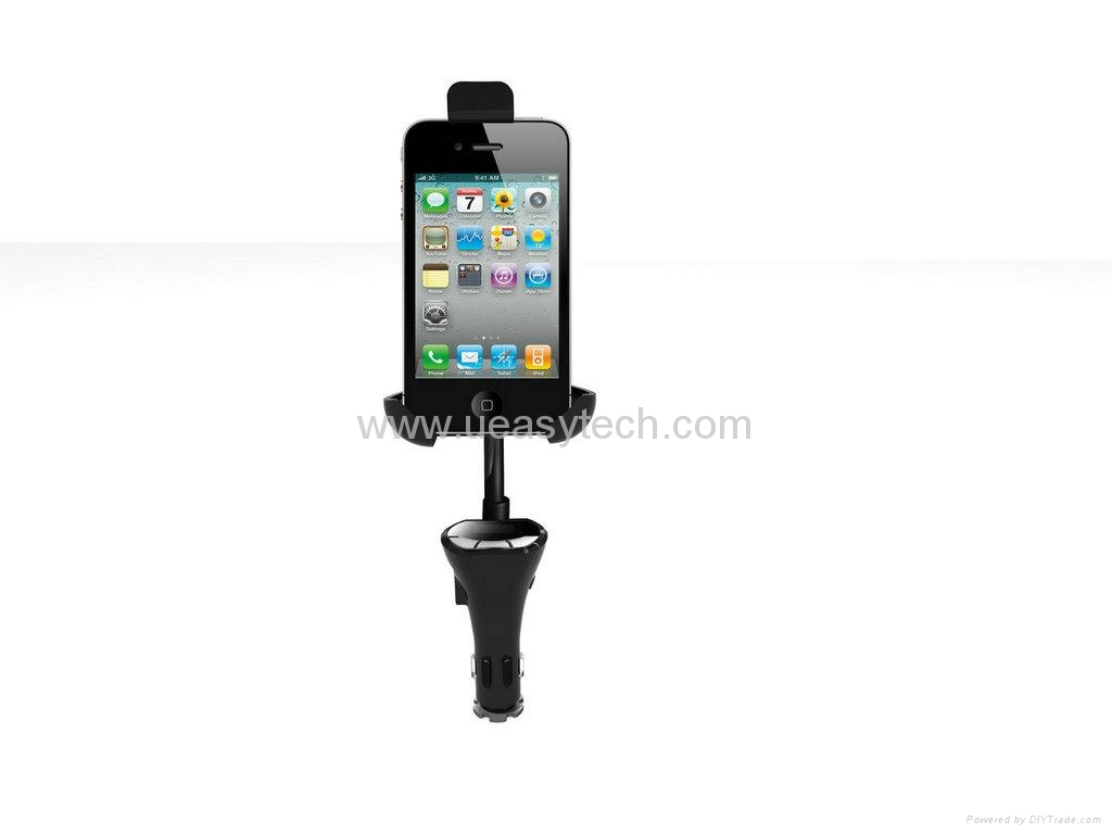 CAR USB CHARGER HOLDER WITH HANDFREE FM LED DISPLAY FOR SMARTPHONES UEH27
