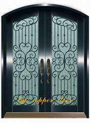 copper door with wrought iron flower