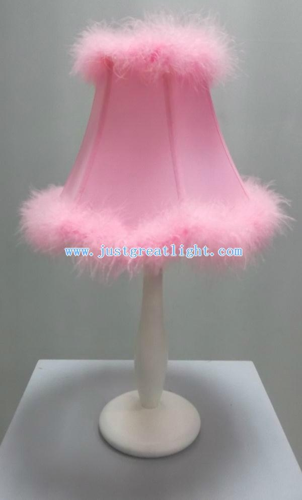 Princess beautiful pink table lamp with wood base as ...