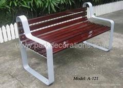 钢制脚户外实木公园椅