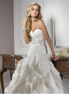 2012 NEW Elegant Sexy Sweetheart Organza Applique Beadings Chapel Wedding Dress 1