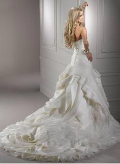 2012 NEW Elegant Sexy Sweetheart Organza Applique Beadings Chapel Wedding Dress 3