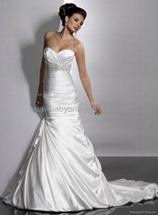 2011 Sexy Sweetheart Satin Court Strapless Wedding Dresses Beading Ruffles