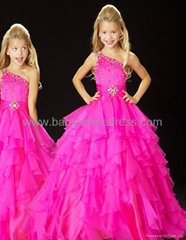 Charming A-line One-Shoulder Ruffles Little Girl's Pageant Dresses