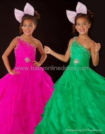 Charming A-line One-Shoulder Ruffles Little Girl's Pageant Dresses 2