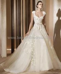 A-Line Cap Sleeve Lace Taffeta Wedding Dress