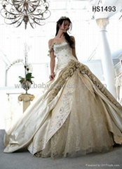 Hot Strapless Beaded Applique Lace vintage wedding dress