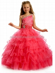 Sexy Beading Organza Layers Ball Gown Flower Girl Dress