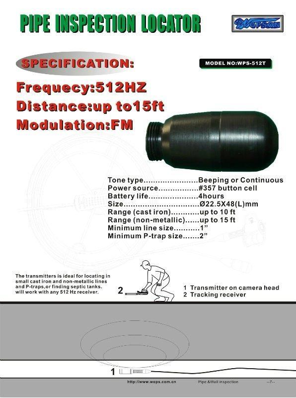 Wireless long distance 512hz locator sonde for underground drain
