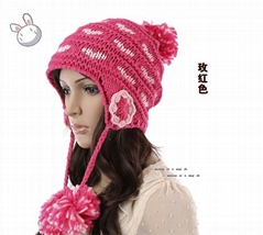 2012 New Design Warm and lovely Knitted Beanie Hat